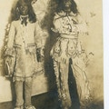 Photograph of two students at the Wright Oral School dressed as Native Americans.