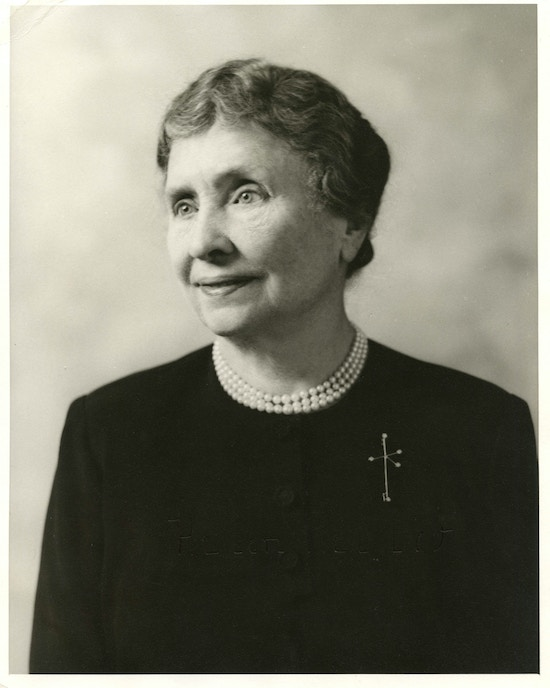 Helen Keller in later years, facing left.