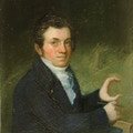 Painting of Clerc in dark coat and white shirt with left hand in the shape of the letter c