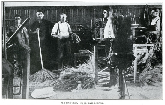 Five men working in the Fall River broom shop.