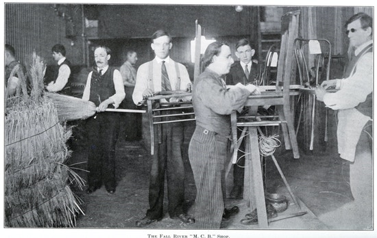 Eight workers at the Fall River broom workshop