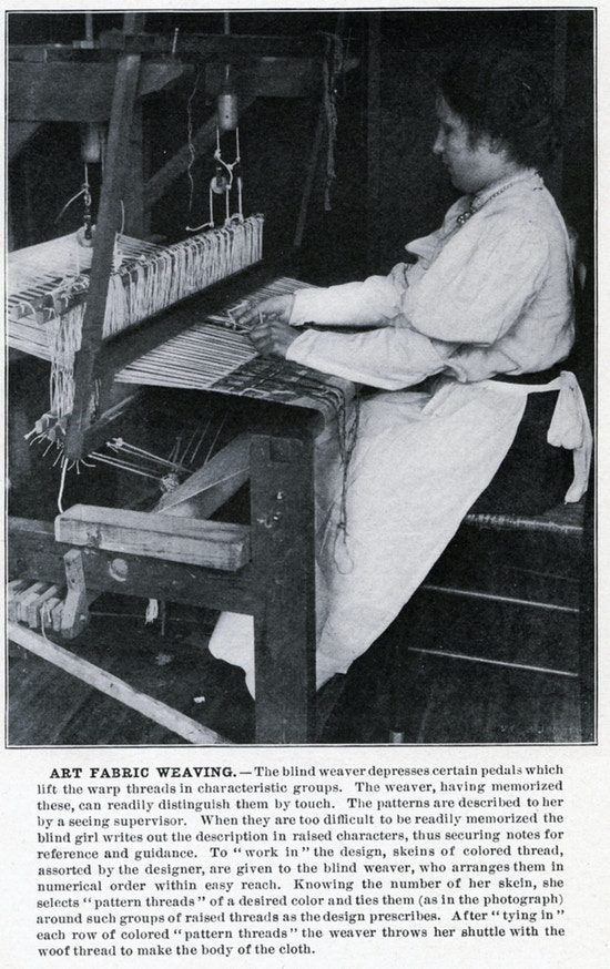 Woman seated at loom weaving