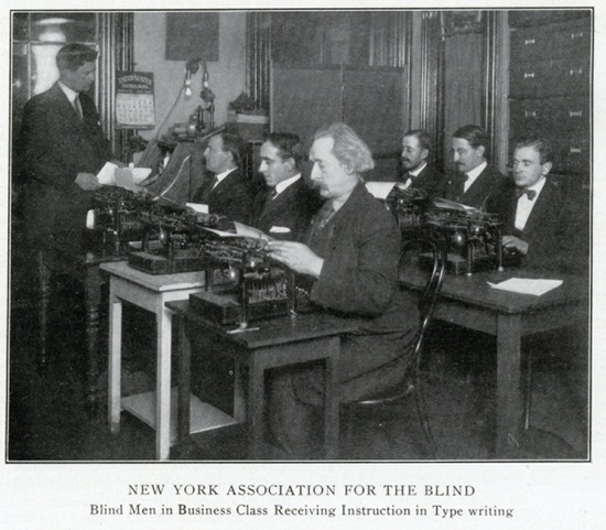 Blind Men in Business Class Receiving Typing Instruction