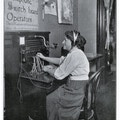 Woman operating switchboard