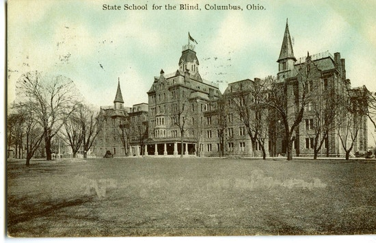 State School For The Blind, Columbus, Ohio.  A large gray building.