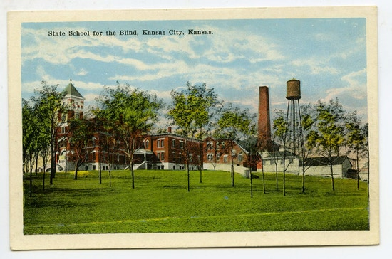 State School For The Blind, Kansas City, Kansas. A sprawling building with smokestack and water tower.