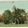 New York State School For The Blind, Batavia, New York. A large tree-shrouded building with an American flag on top.