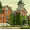 New York State School For The Blind, Batavia, New York. A large ivy-covered building.