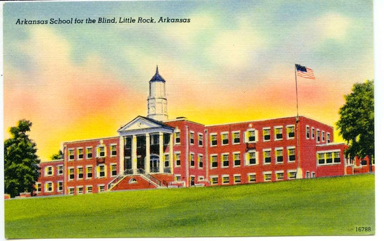 Arkansas School For The Blind, Little Rock, Arkansas. A three-story brick building with pillars at entrance.