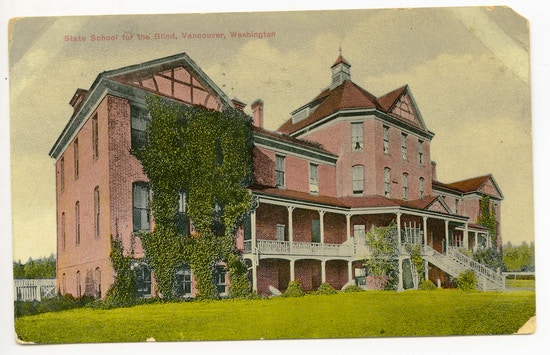 State School For The Blind, Vancouver, Washington. A large brick building with ivy and porches.