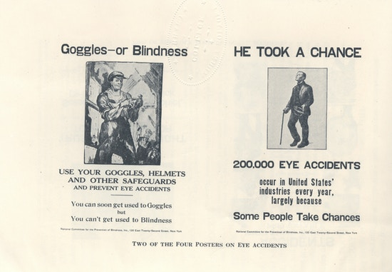 Two posters promoting eye safety.
