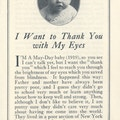 First page of I Want to Thank You with My Eyes. Photograph of a baby above title.