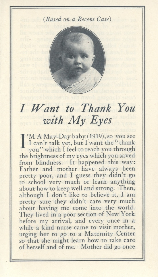 "First page of ""I Want to Thank You with My Eyes."" Photograph of a baby above title."
