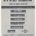 Poster with chart showing number of injuries from fireworks.