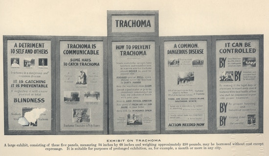 A set of five posters on trachoma.