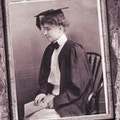 Photo negative of Helen Keller's graduation portrait.