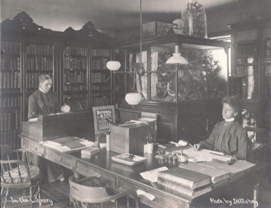 Two women at desks, one sitting, one standing.