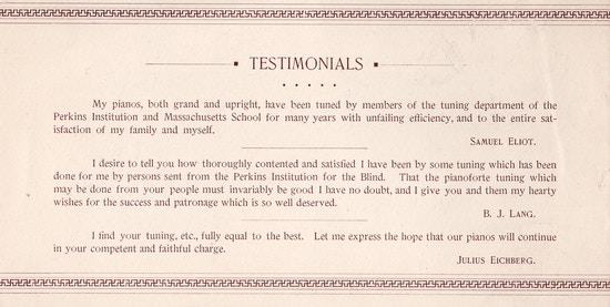 Text only, testimonials from customers of Perkins-trained piano tuners.