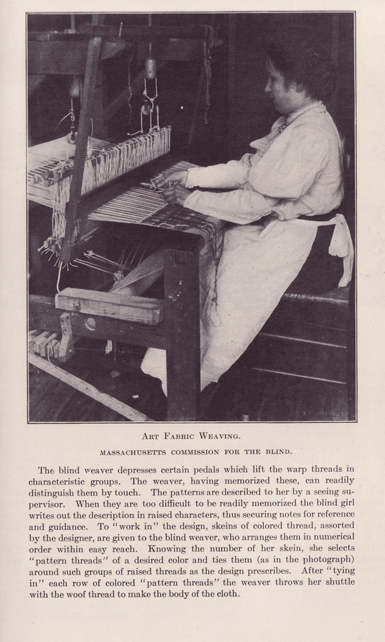 Woman sitting at loom weaving fabric, side view looking left, in light blouse, dark skirt, light apron